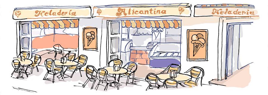Heladería Alicantina Conil, dibujo de Manuel Carabias